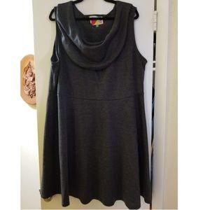 Modcloth Fervour Gray Cowl Neck Dress, Plus 4X